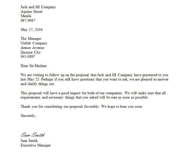 Follow Up Letter  English   Business Letters