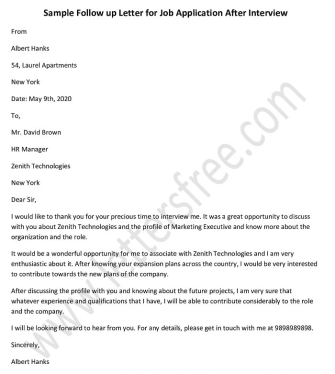 Follow Up Letter For Job Application Status After Interview