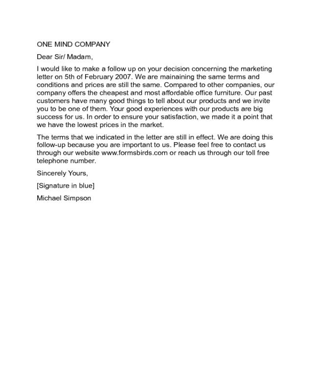 Follow Up Marketing Letter Sample