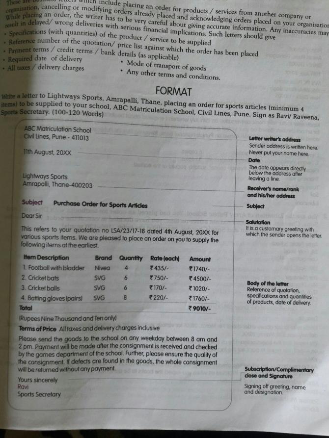 Formal Letter Of Placing Order