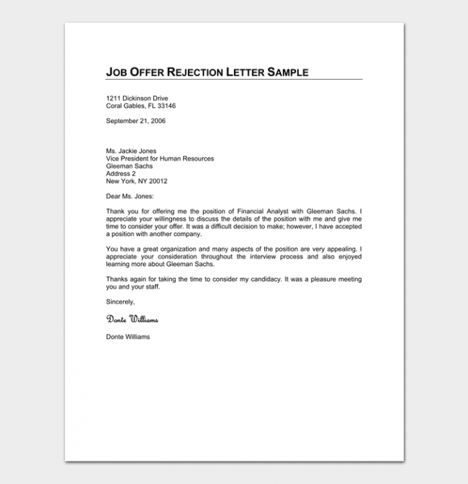 Formal Rejection Letter Template