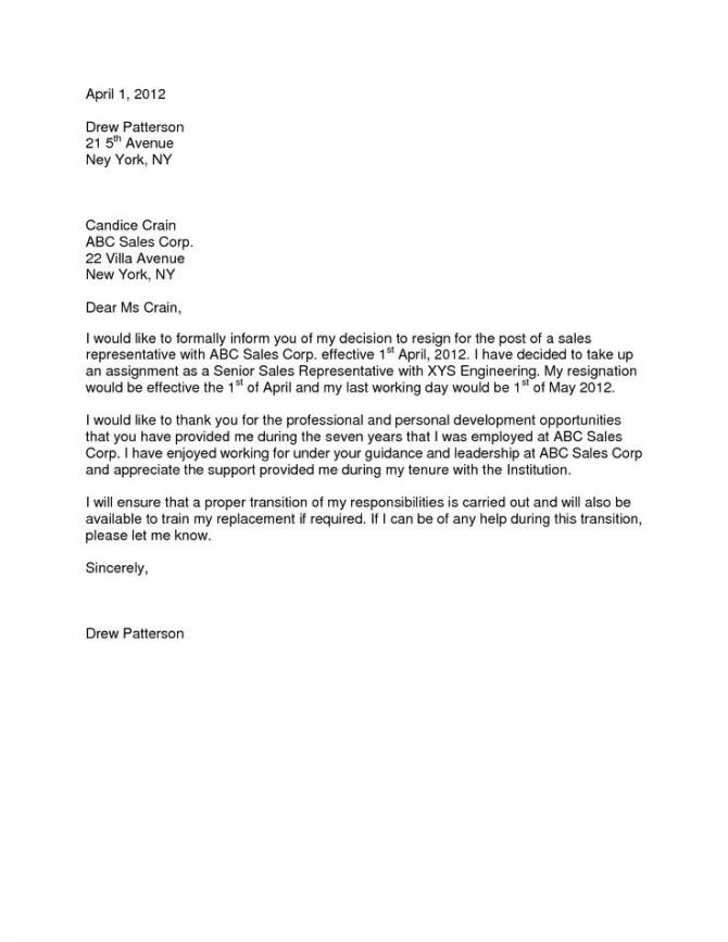 Formal Resignation Letter  Month Notice