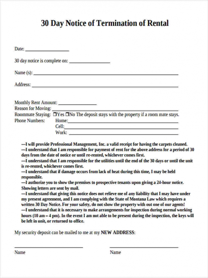 Free   Day Notice Forms In Pdf