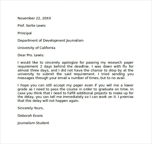 Free  Apology Letter To School In Pdf