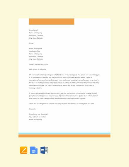 Free  Company Introduction Letter Samples In Ms Word