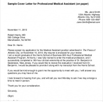 Medical Professional Cover Letter