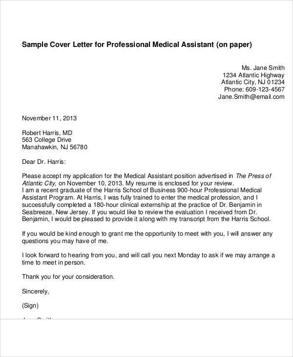 Free  Cover Letter Medical Assistant In Ms Word