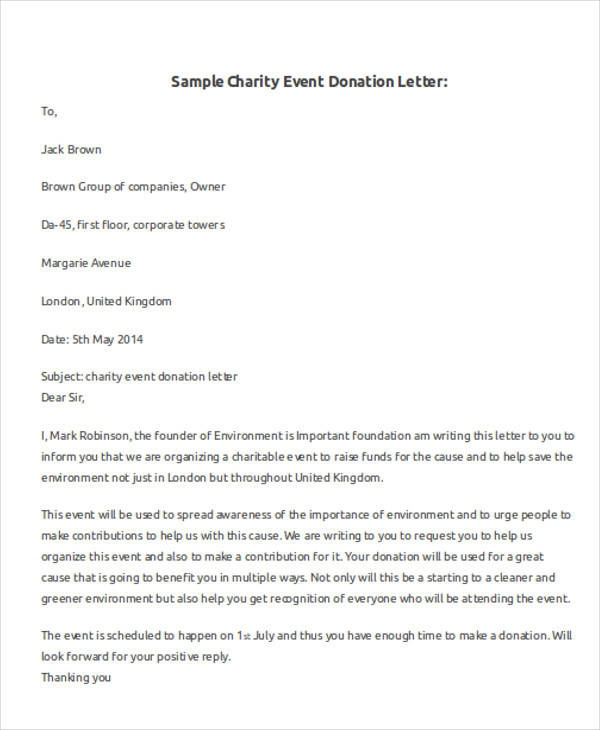 Free  Donation Letter Templates In Pdf