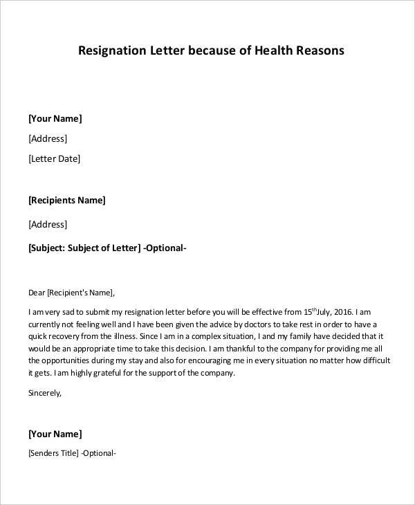 Free  Health Resignation Letter Samples And Templates In Pdf