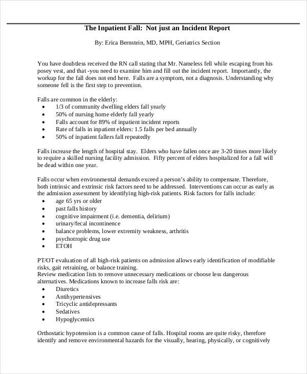 Free  Incident Report Examples   Samples In Pdf