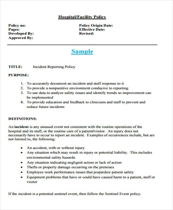 Free  Incident Report Examples In Ms Words