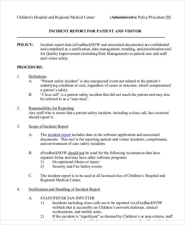 Free  Incident Reports In Pdf