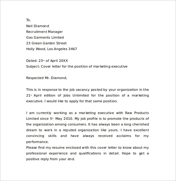 Free  Marketing Cover Letter Templates In Pdf