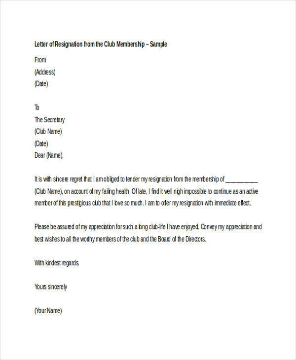Free  Membership Resignation Letter Samples And Templates In Pdf