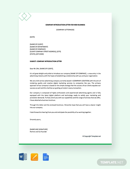 Free  Real Estate Company Introduction Letter Examples
