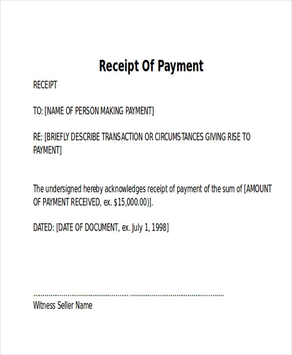 Free  Receipt Of Payment Letter Templates In Pdf