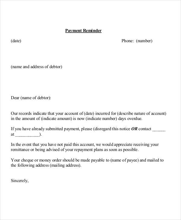 Reminder Letter Example