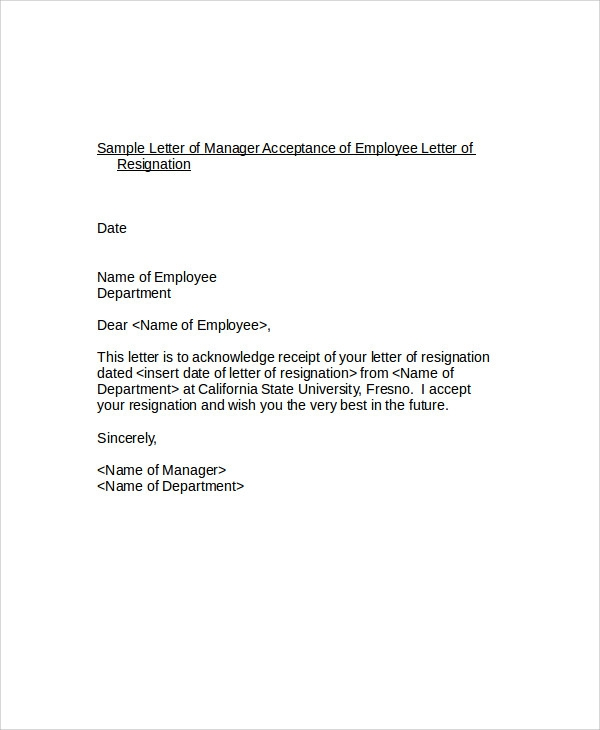 Free  Resignation Acceptance Letter Templates In Pdf