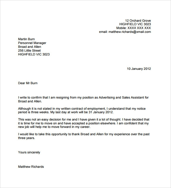 Free  Resignation Letters No Notice Templates In Pdf