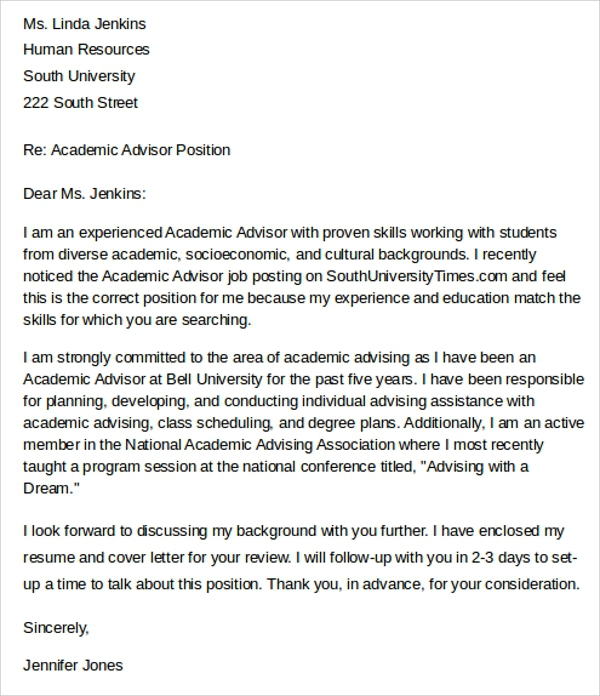 Free  Sample Academic Advisor Cover Letter Templates In Pdf