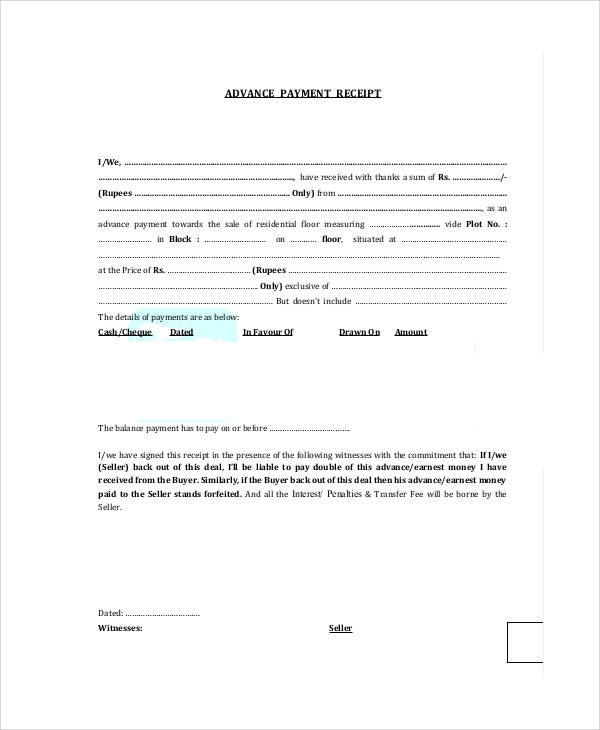 Free  Sample Advance Payment Receipts In Ms Word