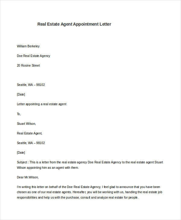 Free  Sample Agent Appointment Letter Templates In Pdf