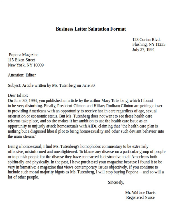 Free  Sample Business Letter Salutation In Ms Word