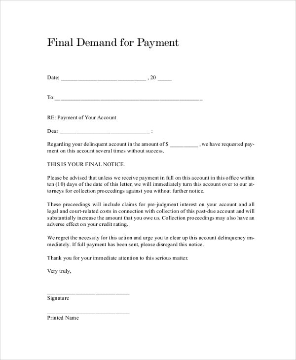 Free  Sample Demand Letter Templates In Pdf