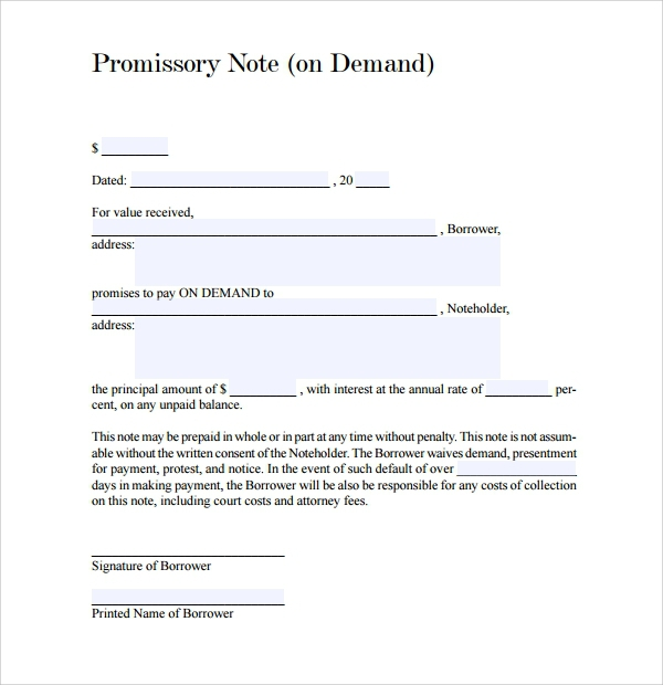 Free  Sample Demand Promissory Note Templates In Pdf
