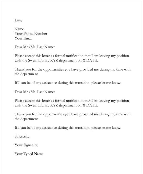 Free  Sample Email Resignation Letter Templates In Pdf