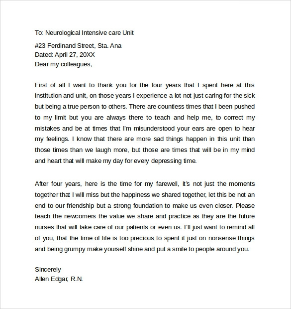 Free  Sample Farewell Letters To Co