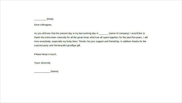 Free  Sample Farewell Letters To Colleagues In Ms Word