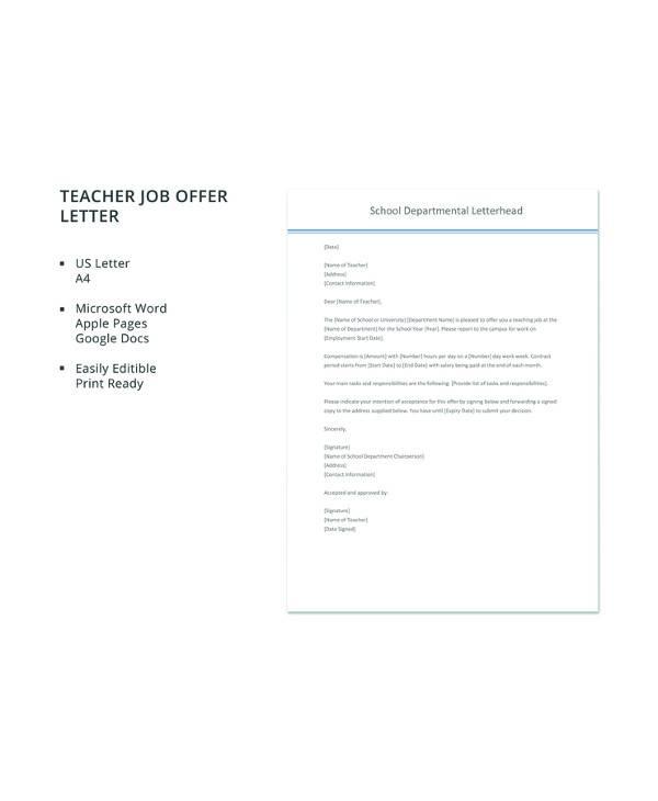 Free  Sample Job Offer Letter Templates In Pdf