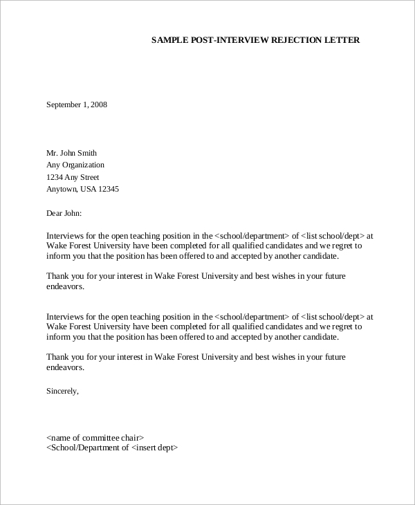 Free  Sample Job Rejection Letter Templates In Ms Word
