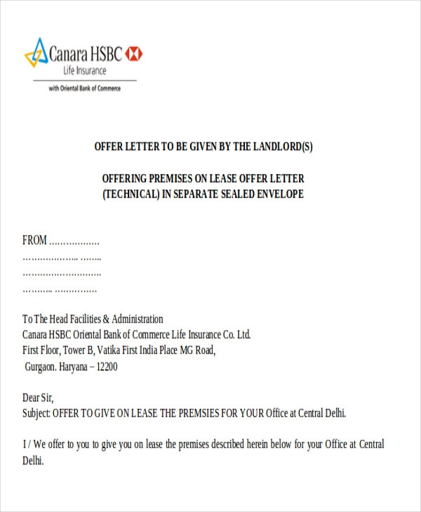 Free  Sample Lease Proposal Letter Templates In Pdf