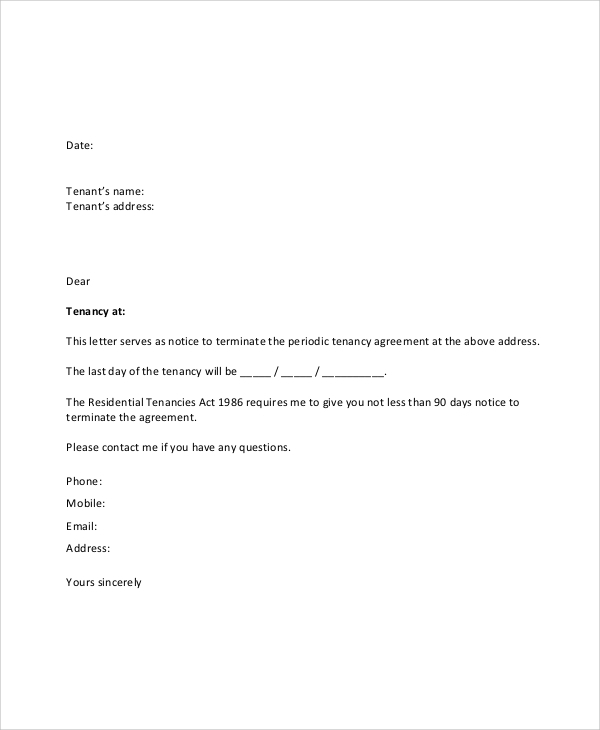 Free  Sample Lease Termination Letter Templates In Pdf