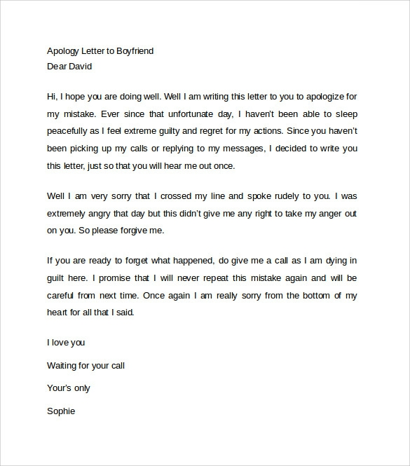 Free  Sample Letter Of Apology In Ms Word