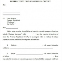 Commercial Real Estate Letter Of Intent