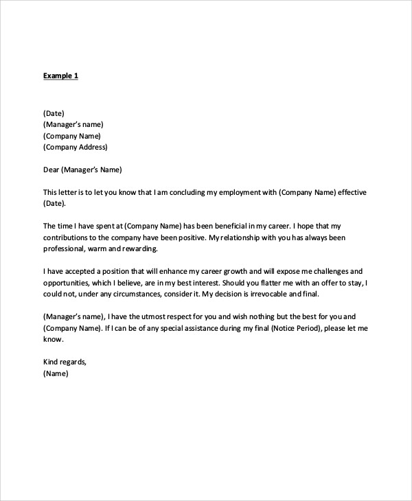 Free  Sample Manager Resignation Letter Templates In Pdf