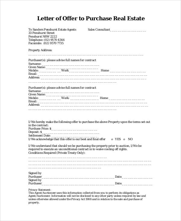 Free  Sample Real Estate Offer Letter Templates In Pdf