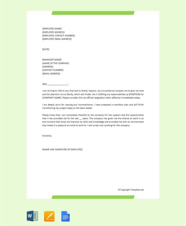 Free  Sample Resignation Letter For Family Reasons In Apple