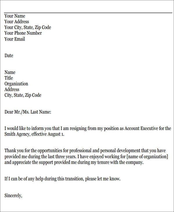 Free  Sample Resignation Letters For Personal Reasons In Pdf