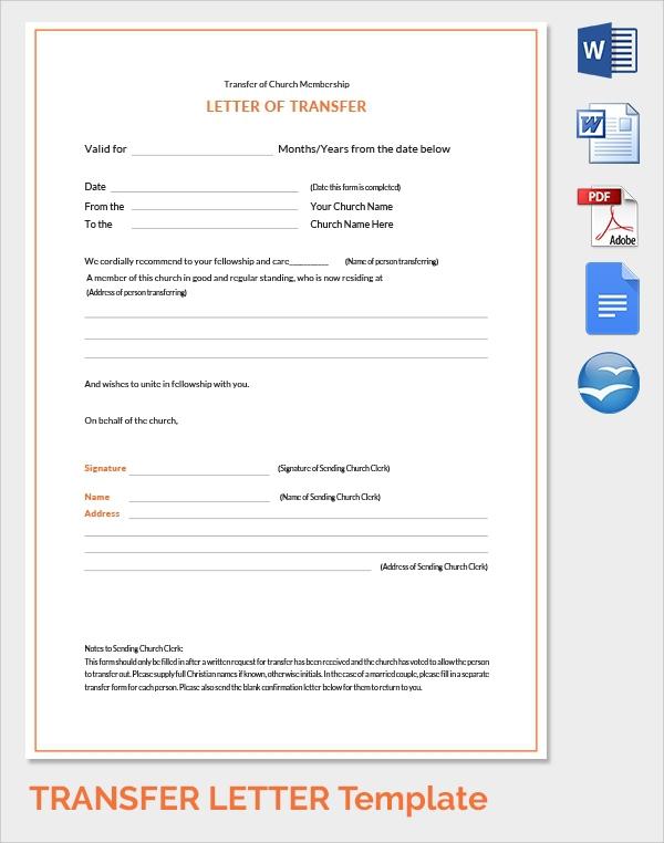 Free  Sample Transfer Letter Templates In Pdf
