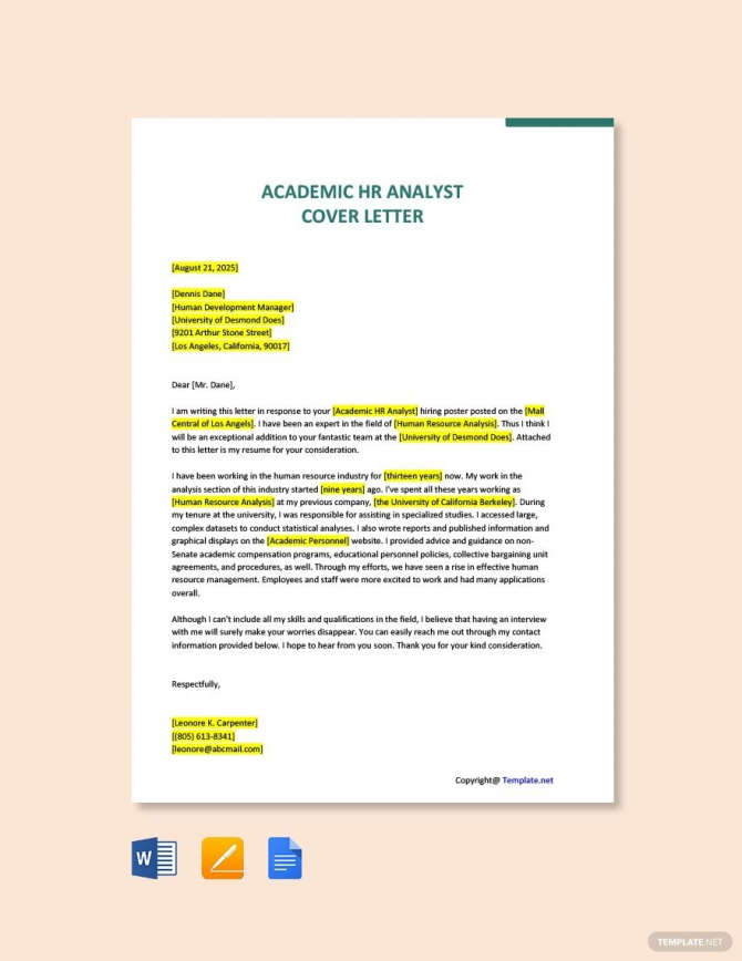 Free Academic Hr Analyst Cover Letter Template Ad    Affiliate
