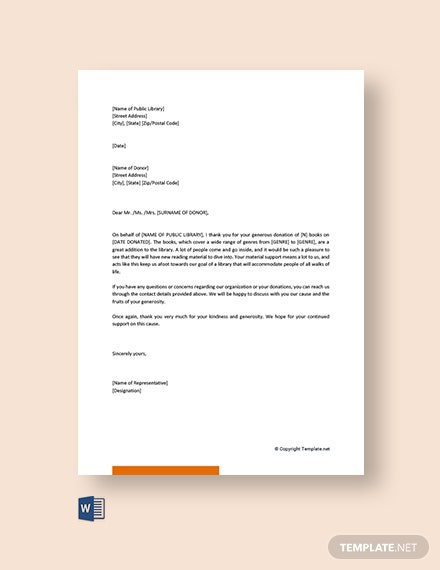 Free Acknowledgement Letter For Book Donation Template