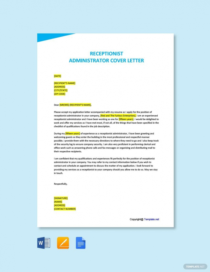 Free Administrator Receptionist Cover Letter