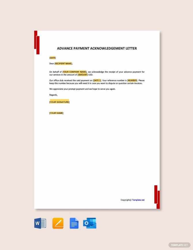 Free Advance Payment Acknowledgment Letter Ad    Affiliate