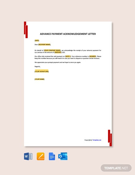 Free Advance Payment Acknowledgment Letter Template