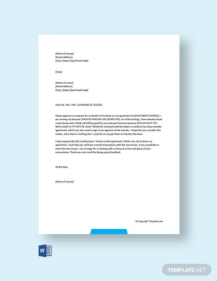Free Apartment Lease Transfer Letter Template