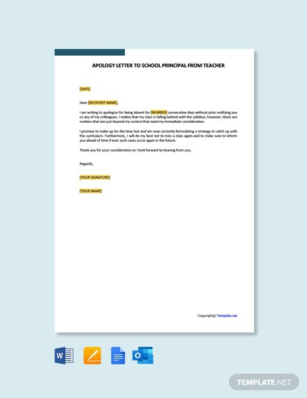 Free Apology Letter To School Principal From Teacher Template